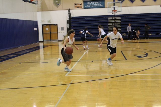 Senior guards Rachel Mischel (left) and Allison Bearstail (right) compete in a drill. (Photo courtesy of Hannah Schaefbauer)